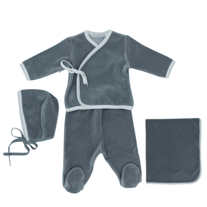 Grey Wrap Trim Layette Set