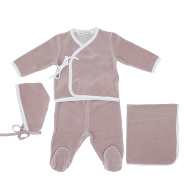 Mauve Wrap Trim Layette Set