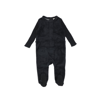 Black Velour Rib Sleeve Footie