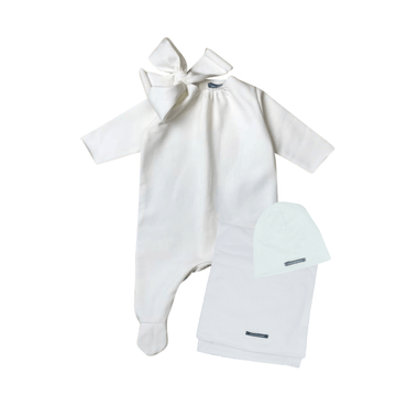 White Bow Layette Set