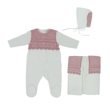 Pink Embroidery Overlay Layette Set