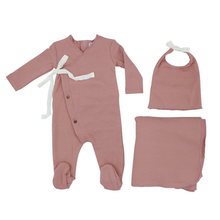 Blush Button Wrap Layette Set