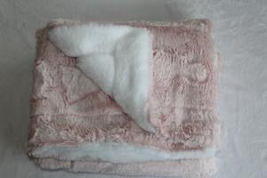 Pink and White Plush Blanket