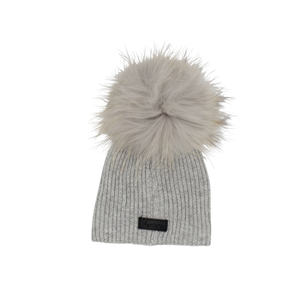 Light Grey Ribbed Wool Pom Pom Hat