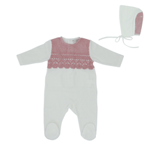 Pink Embroidery Overlay Footie and Bonnet