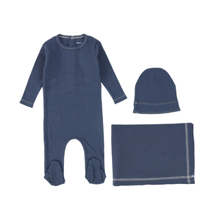 Ocean Navy Ribbed Layette Set