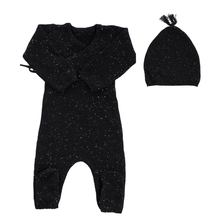 Black Knit Wrap Footie and Hat