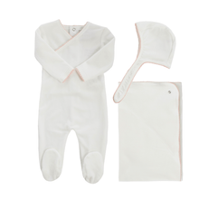Pink Piped Velour Kimono Layette Set