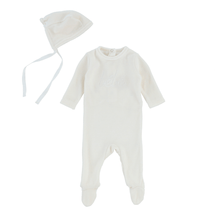 Ivory Bebe Footie and Bonnet