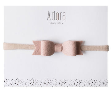 Mini Suede Mauve Bow Band