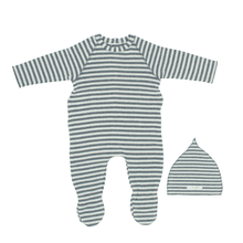Grey Striped Footie and Bonnet
