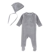 Bebe Soft Grey Footie and Bonnet
