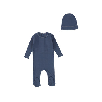 Ocean Navy Ribbed Footie and Beanie