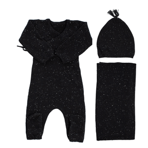 Black Knit Wrap Set