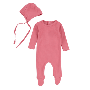 Berry Pink Ribbed Footie and Bonnet