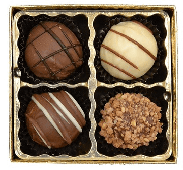 4 Pc Chocolate Truffle Box
