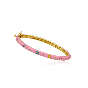 Pink Enamel Multi Color Flower Bangle