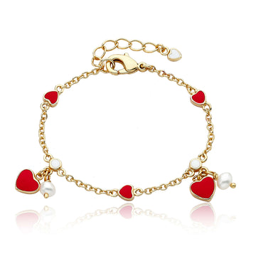 Red Enamel Hearts and Fresh Water Pearls Chain Bracelet