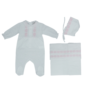 Pink Embroidered Layette Set