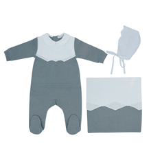 Grey Scalloped Layette Set