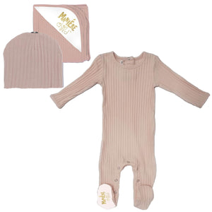 Pink Ribbed Layette Set