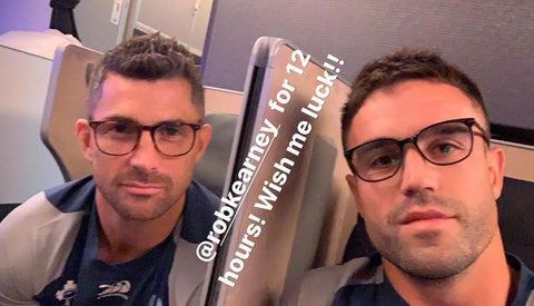 Conor Murray & Rob Kearney wearing Henshaw Blue Blocks on a long haul flight