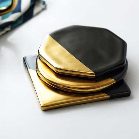 Cupofdeals Coaster Round Black gold plating Coaster