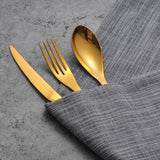 Cupofdeals cutlery 5 pcs Golden Steel Cutlery Set
