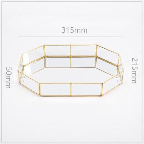 Cupofdeals decorative plate 1 Gold Glass Decorative Tray