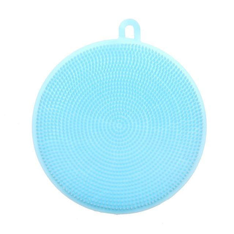 Cupofdeals kitchen gadget Round Blue Multifunction Silicone Dish Cleaning Brush