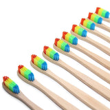 Cupofdeals self care 6PC Rainbow Eco-Friendly Bamboo Toothbrushes