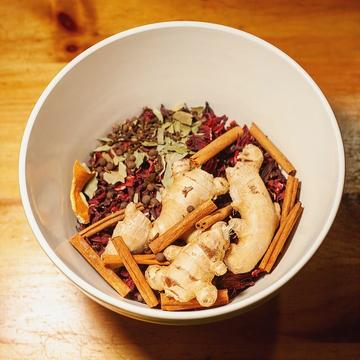 holiday drink ingredients in a bowl