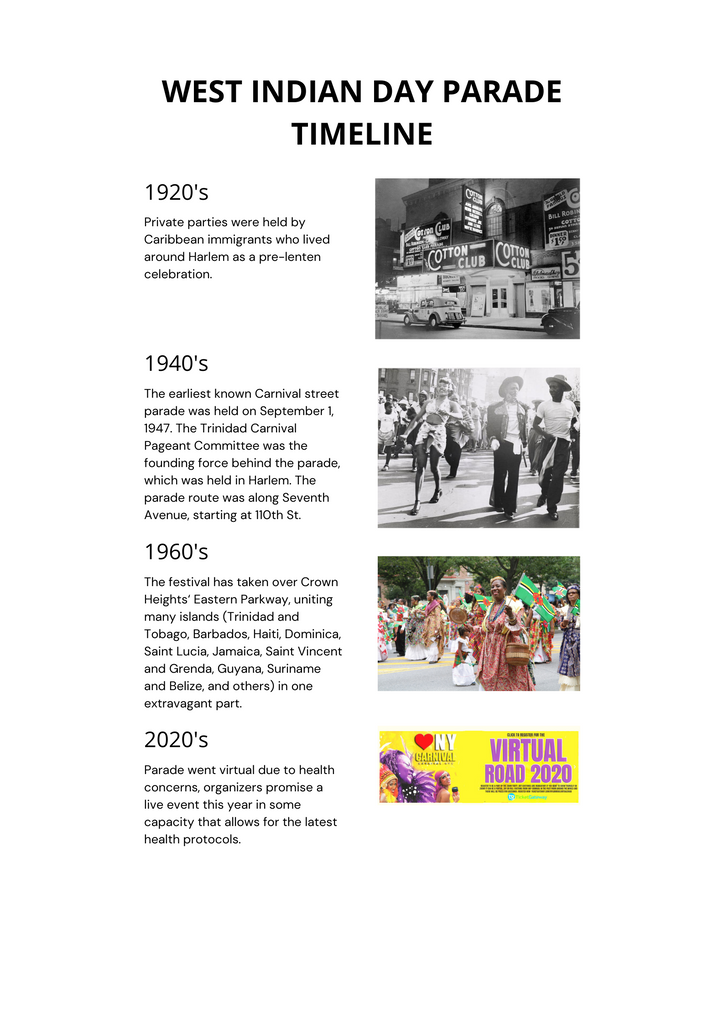 history of west Indian day parade celebrated by the people who live in the Caribbean Islands.