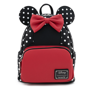Minnie Mouse Black and White Polka Dot Mini Backpack - Disney Loungefly