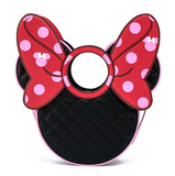 Minnie Mouse Head Quilted Bow Crossbody - Disney Loungefly
