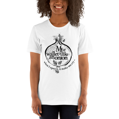 "Womens T-Shirt ""My wallet is like an Onion BW"""
