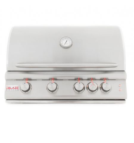 "Blaze 32"" 4 Burner LTE Grill with Rear Burner and Built-In Lighting System"