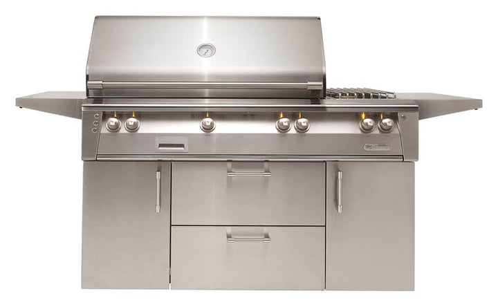 "Alfresco 56"" Freestanding Deluxe Grill with Standard Cart"