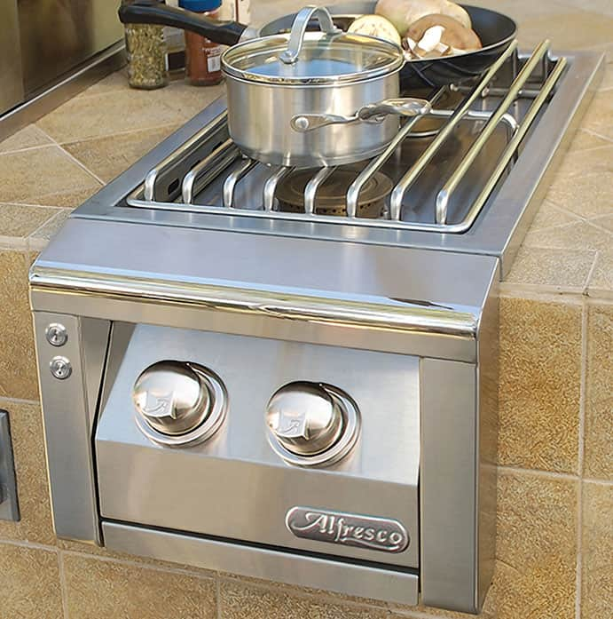 "Alfresco 14"" Cart Dual Side Burner"