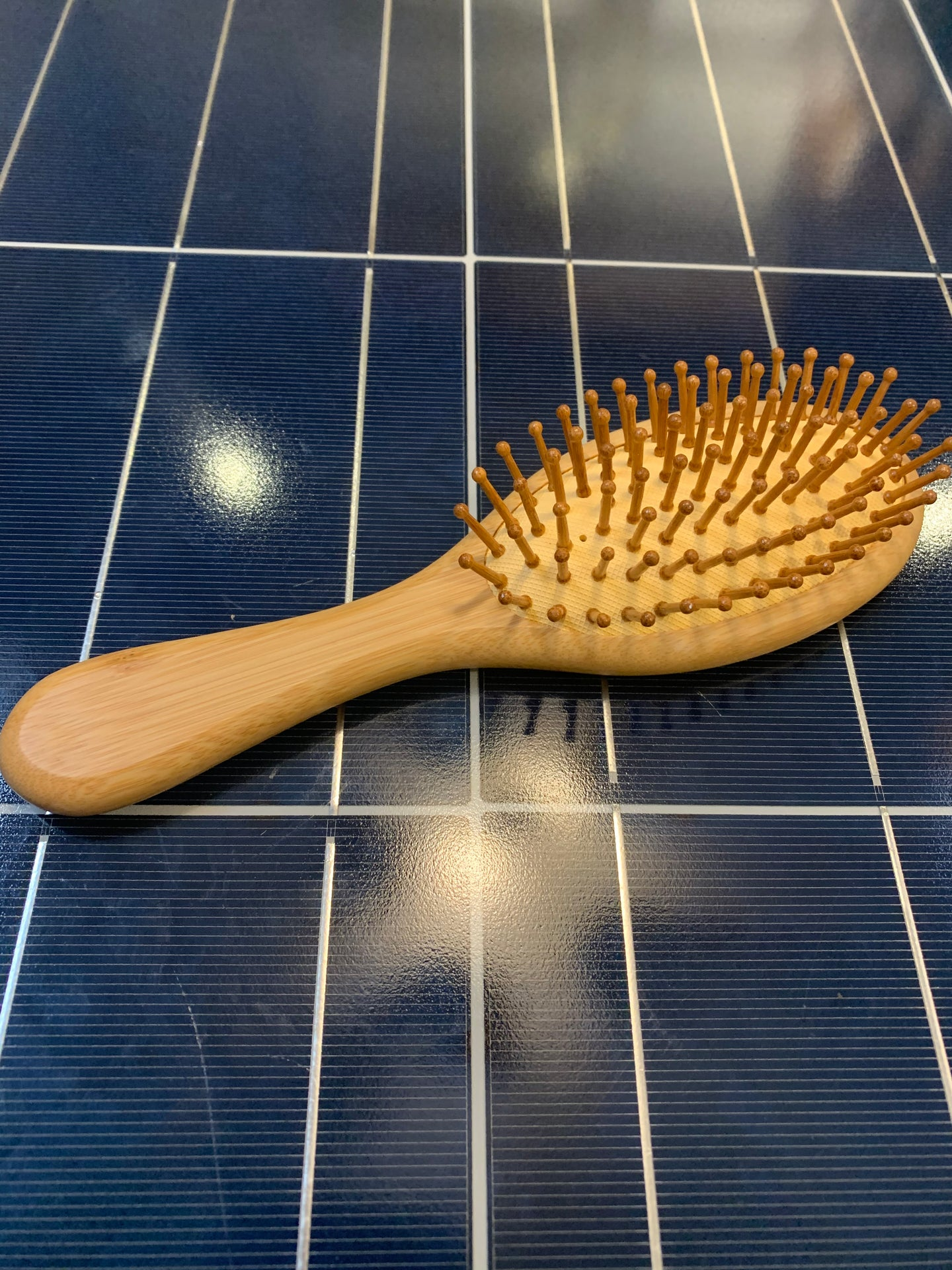 Hair Brush - Medium Size Bamboo W/ Natural Rubber Pad