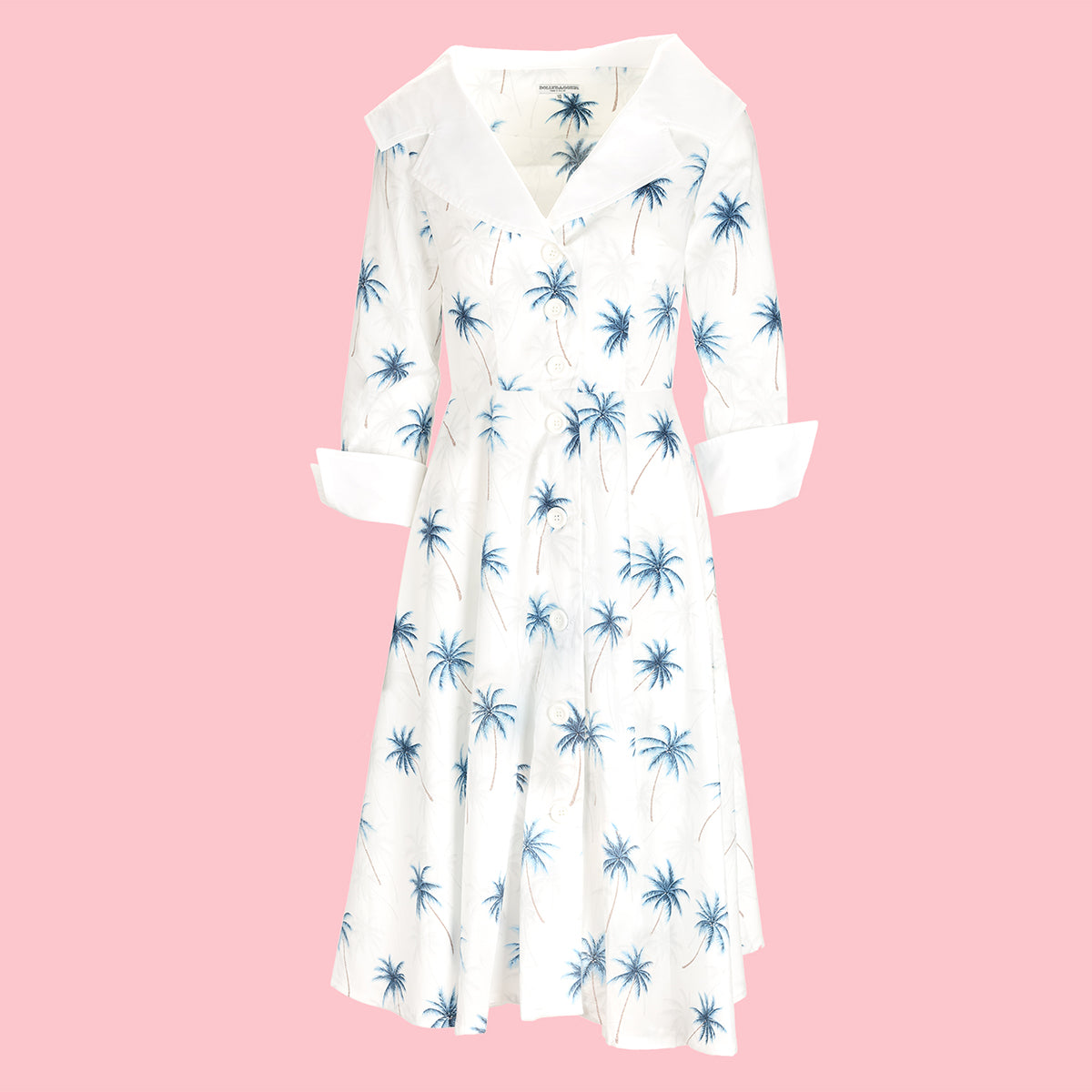 Dollydagger Blue Palm Print Jackie Dress