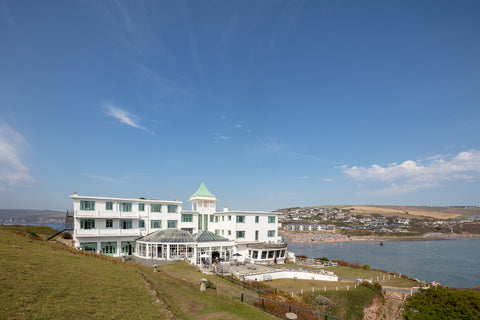 View of the hotel and Bigbury beach from the top of Burgh Island
