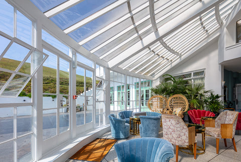 The sloping roof in the conservatory