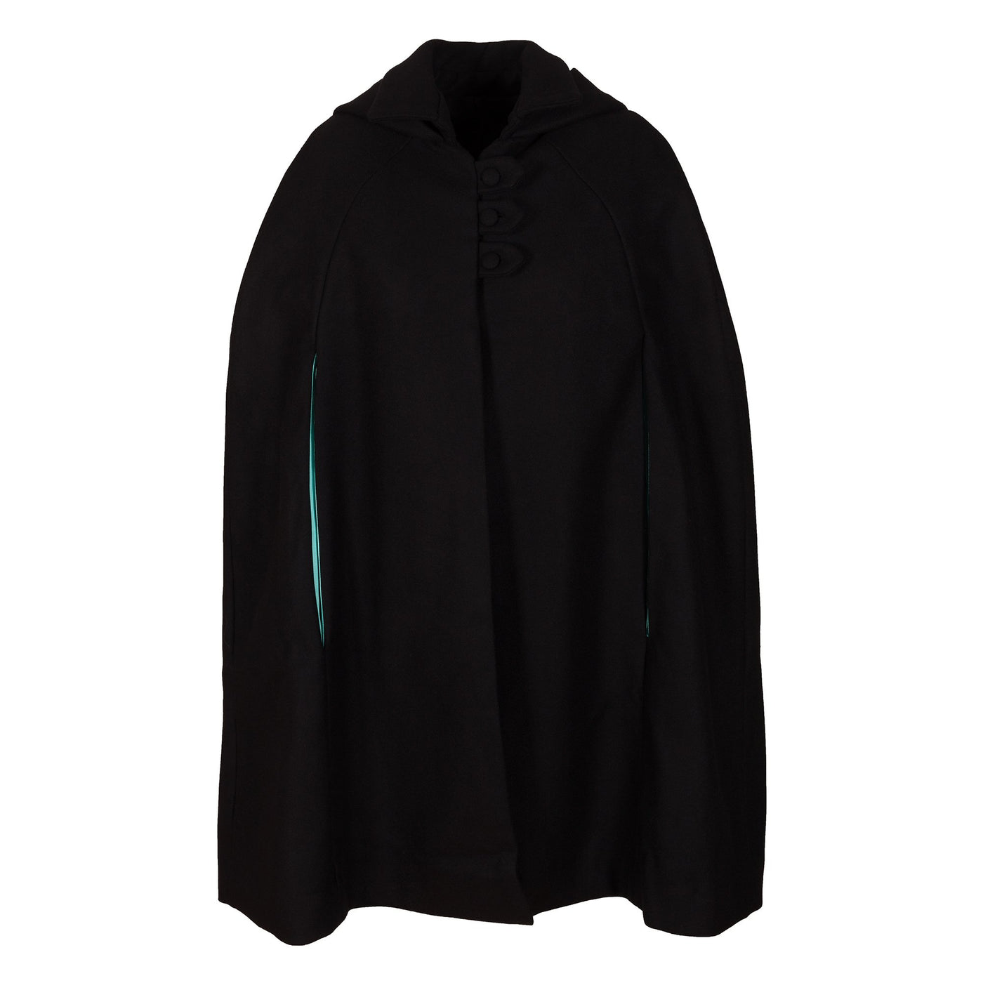Black Cashmere Hooded Cape