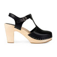 Black Retro Clogs T-Strap Sky High by Swedish Hasbeens