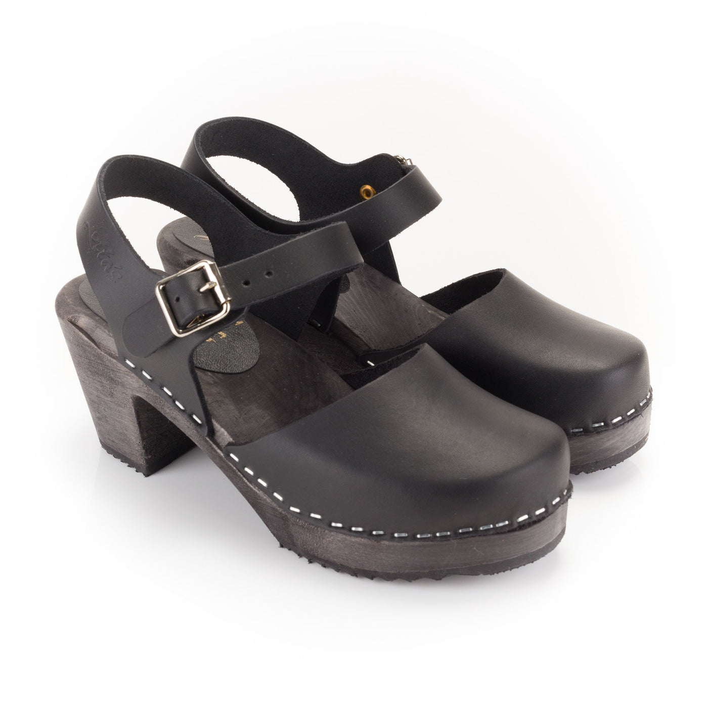 Black Retro Wooden Clogs by Lotta from Stockholm at Dollydagger