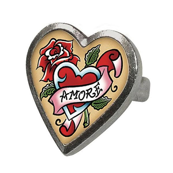 Classic Hardware Amore Tattoo Heart Ring