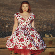 Dollydagger Red Rose Print English Rose Scarlet Dress