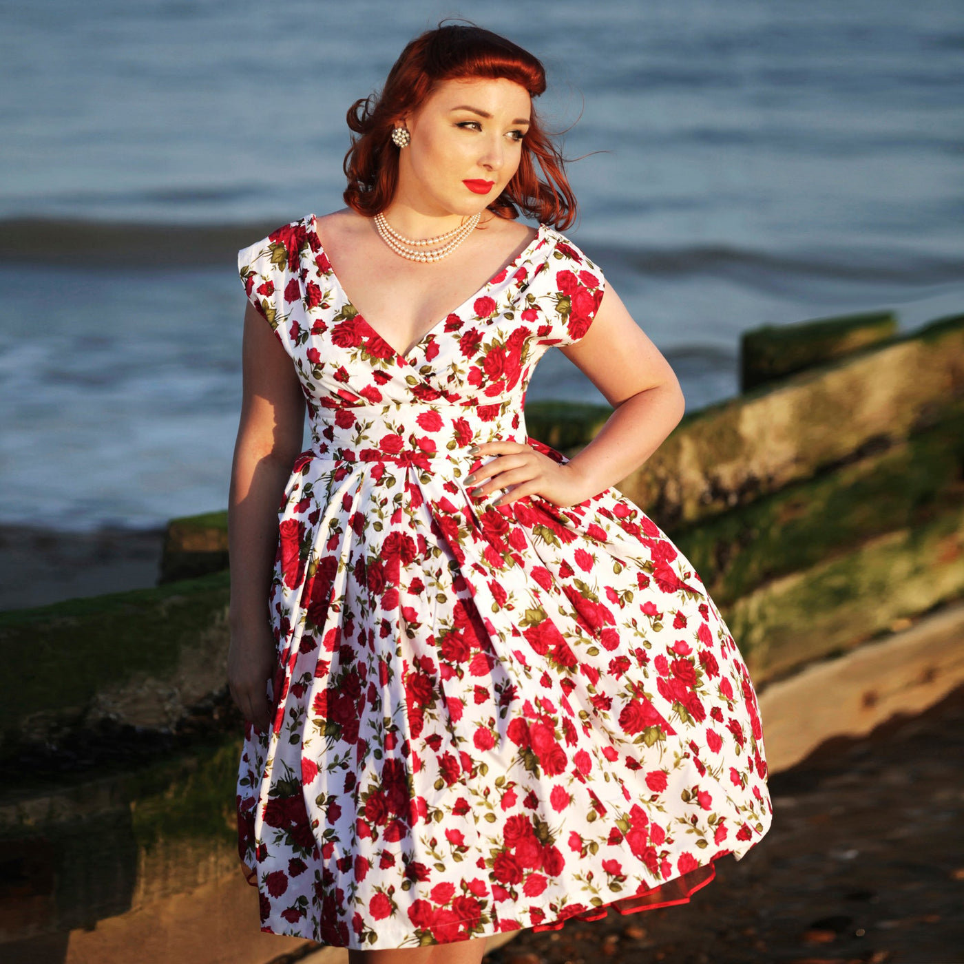 Dollydagger English Rose Scarlet Dress Red Rose Print
