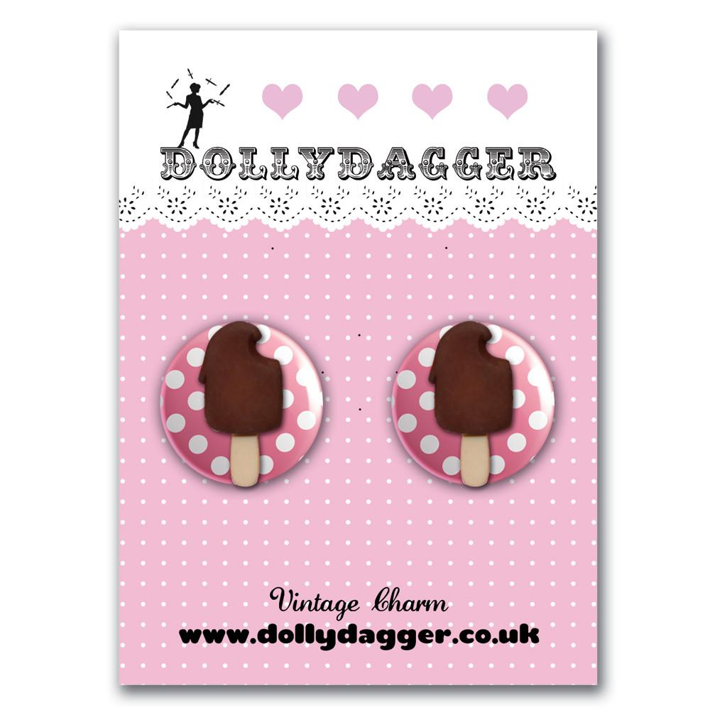Dollydagger Chocolate Fudgsicle Button Earrings
